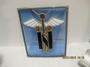 Rare 1970 S Us Navy Medic Stainglass Window W Hanging Chain 10 X 8 5 2d