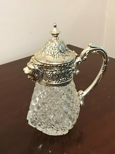 Antique Glass Diamond Block Silver Plate Syrup Pitcher Figural Lion Spout