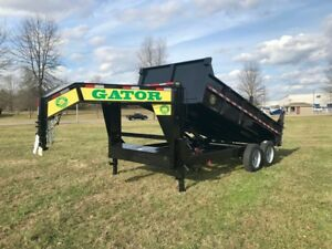 Dump Trailer 16ft gooseneck 2 8000 Axles 17 5 Tires Gatormade Trailer