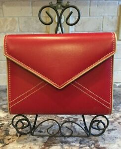 Franklin Covey Organizer 6 Ring Red Magnetic Snap Envelope