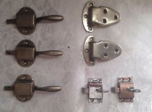 Vintage Latches And Hinges Lot Of 7