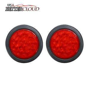 2 4 Round 12 Led Stop Turn Brake Tail Light Flush Mount Truck Trailer Grommet