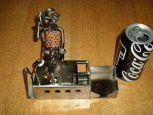 Metal Art man Figure Relaxing At His Desk Desk Top Set Organizer Handmade