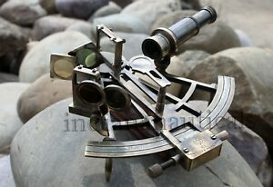 Antique Marine Brass Sextant 8 Nautical Vintage Collectible Working Item