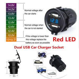 12v 24v 4 2a Dual Usb Car Cigarette Lighter Charger Socket Red Led Power Adapter