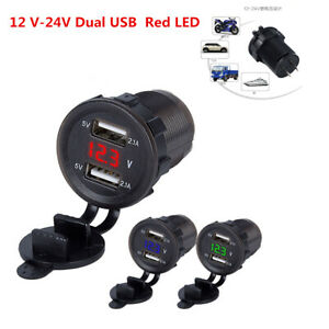 4 2a Red Led Display Car Truck Cigarette Lighter Socket Dual Usb Charger Adapter