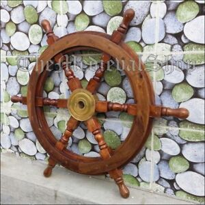 24 Authentic Design Wooden Ship Wheel Boat Steering Ships Decor Vintage Gift