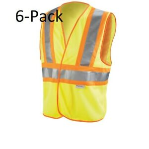 3m High visibility Yellow Reflective 2 tone Construction Safety Vest 6 pack
