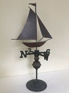 Vintage Schooner Boat Copper Brass Table Top Weathervane Rod Directionals Balls