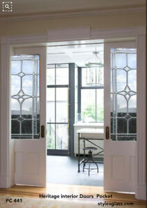 Beautiful Interior Pocket Doors With 3 4 Heritage Glass Panels 26 X 80 X 13 8