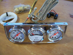 Vintage Nos 50s Style Lighted Triple Gauge Dash Set Oil Temp Volt Accessory