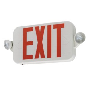 Lithonia Single double Face Led White Exit Sign Red Letter Round Head Remote