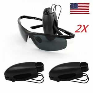 Us 2x Universal Car Auto Sun Visor Clip Holder For Sunglasses Eyeglass