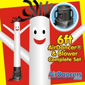 White Air Dancers Inflatable Tube Man 1 4 Hp Sky Dancer Blower Set 6ft