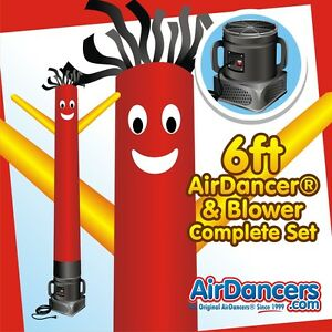 Red And Yellow Air Dancers Inflatable Tube Man 1 4 Hp Sky Dancer Blower 6ft