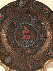 Great Antique Vintage Ethnic India Brass Filgree With Coral Turquoise Tray 8