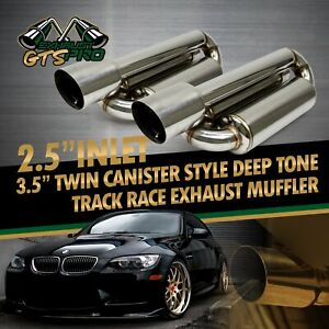 Fit Jpn Car 2x Twin Loop Canister Style Deep Tone Track Exhaust Mufflers 4 Tips