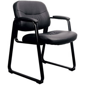 Black Soft Leather Executive Modern Reception Arm Desk Side Chair Sled Base