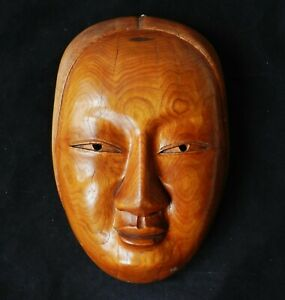 Large Antique Japanese Wall Mask Paulownia Wood Carved Noh Face 12 5 X 8
