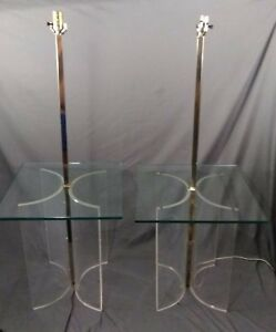 Pair Vtg Mcm Springer Jones Era Lucite Chrome Floor Lamp Table Mid Century