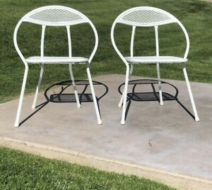 Pair Vintage Mid Century Modern Folding Hoop Patio Chairs Maurizio By Salterini