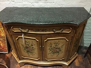 Vintage Marble Top Commode Credenza Sideboard