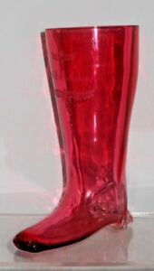 Antique Cranberry Glass Pilsner Drinking Vessel Stein In Boot Form W Engravings