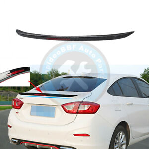 Black Rear Trunk Lip Spoiler Tail Wing With Reflector For Chevrolet Cruze 17 19