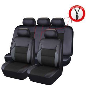 Car Pass Car Seat Cover Breathable Leather Sandwich Universal Full Set Black Fit