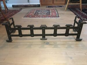 Substantial Arts And Crafts Hand Hammered Iron Fireplace Fender 1910 S