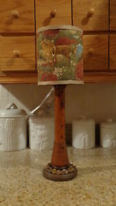 Textile Spool Lighted Lamp Deer Shade Rustic Country Cabin Decor