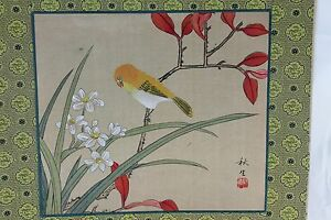 Vintage Chinese Painting On Silk Asian Flowers Bird Signed Unframed