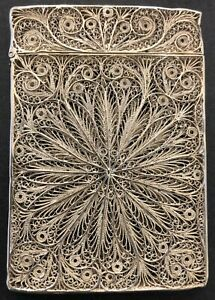 Antique Continental Silver Filigree Card Case