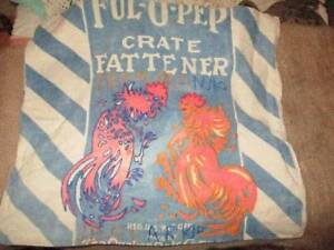 Vtg Ful O Pep Chicken Fattener Feed Sack Made Into Pillow Cover Farmhouse