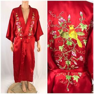 Vintage Chinese Silk Robe Red Embroidered Long Silk Robe Phoenix Xl Made China