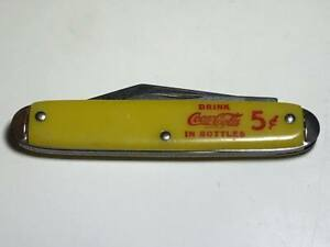 Vintage Yellow Coca Cola Pocket Knife Made in the USA
