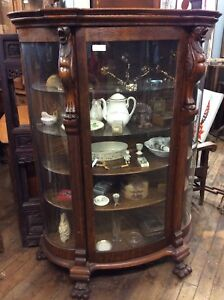 Antique Carved Oak China Cabinet Curved Glass 66 25 H