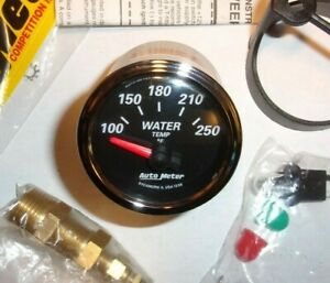 Autometer 1238 Designer Black Ii 2 1 16 Electric Water Temperature Gauge Nos