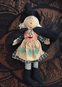 Primitive Halloween Witch Rag Doll Country Rustic Folk Holiday Decor Adorable