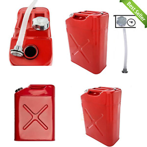 Gasoline Fuel Container Caddy Tank Portable 5 Gallon Petrol Jerry Can W Spout