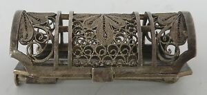 Fine Antique Japanese Export 950 Sterling Silver Filigree Vinaigrette Pin Brooch
