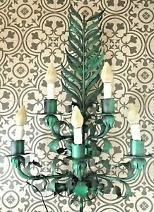Vintage Tole Light Fixture 5 Light Large Fern Wall Sconce 3 H Green Oversize
