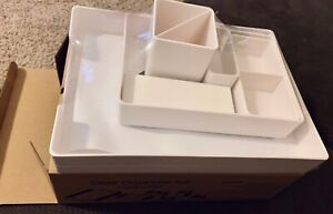 White Table Top Office Desk Organizer Set By Uplift Desk