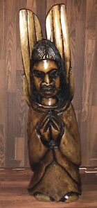 Unique 18 Tall Antique Hand Carved Heavy Hard Wood Angel Santo Folk Art