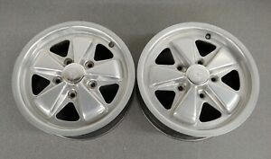 Nice Pair Of Reproduction Aew Porsche 911 Fuchs Style Alloy Wheels 15x6