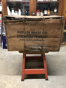 Vintage Mueller Brass Co Wooden Advertising Shipping Crate Port Huron Michigan