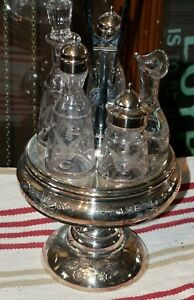 Antique Vintage Era Castor Set Silver Colored Wiith Five Container Stand