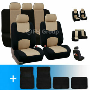 Car Seat Cover With Carpet Floor Mats 5 Headrests Beige Black