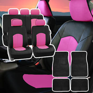 Deluxe Perforated Leather Car Seat Cover Pink W Floor Mat