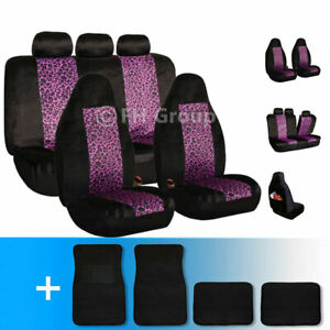 2 Tone Leopard Velour Seat Covers With Carpet Floor Mats